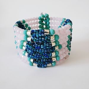 Pink Blues Crystal Memory Wire Cuff Bracelet